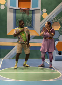 """Anthony Adu as """"Wes"""" and Savanna Padilla as """"Chavonne"""" in La Jolla Playhouse's 2021 Performance Outreach Program (POP) Tour production of Pick Me Last, by Idris Goodwin, directed by Jacole Kitchen; photo by Dig That Photography."""