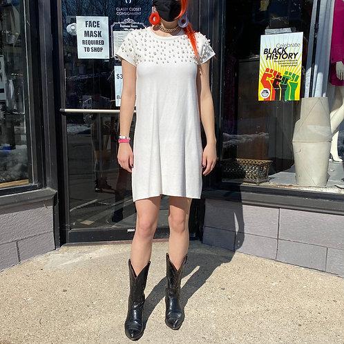 Zara knit pearl embellished T-Shirt dress