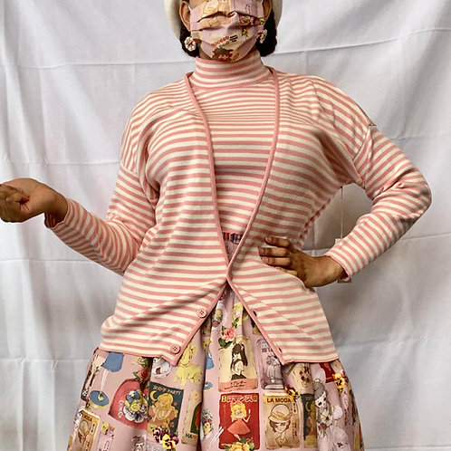 Pink & Cream Striped Sweater Set
