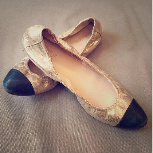 Loeffler Randall Gold peep toe ballet flats