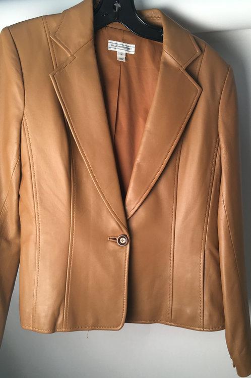 St. John Sport Cognac Leather Blazer Medium