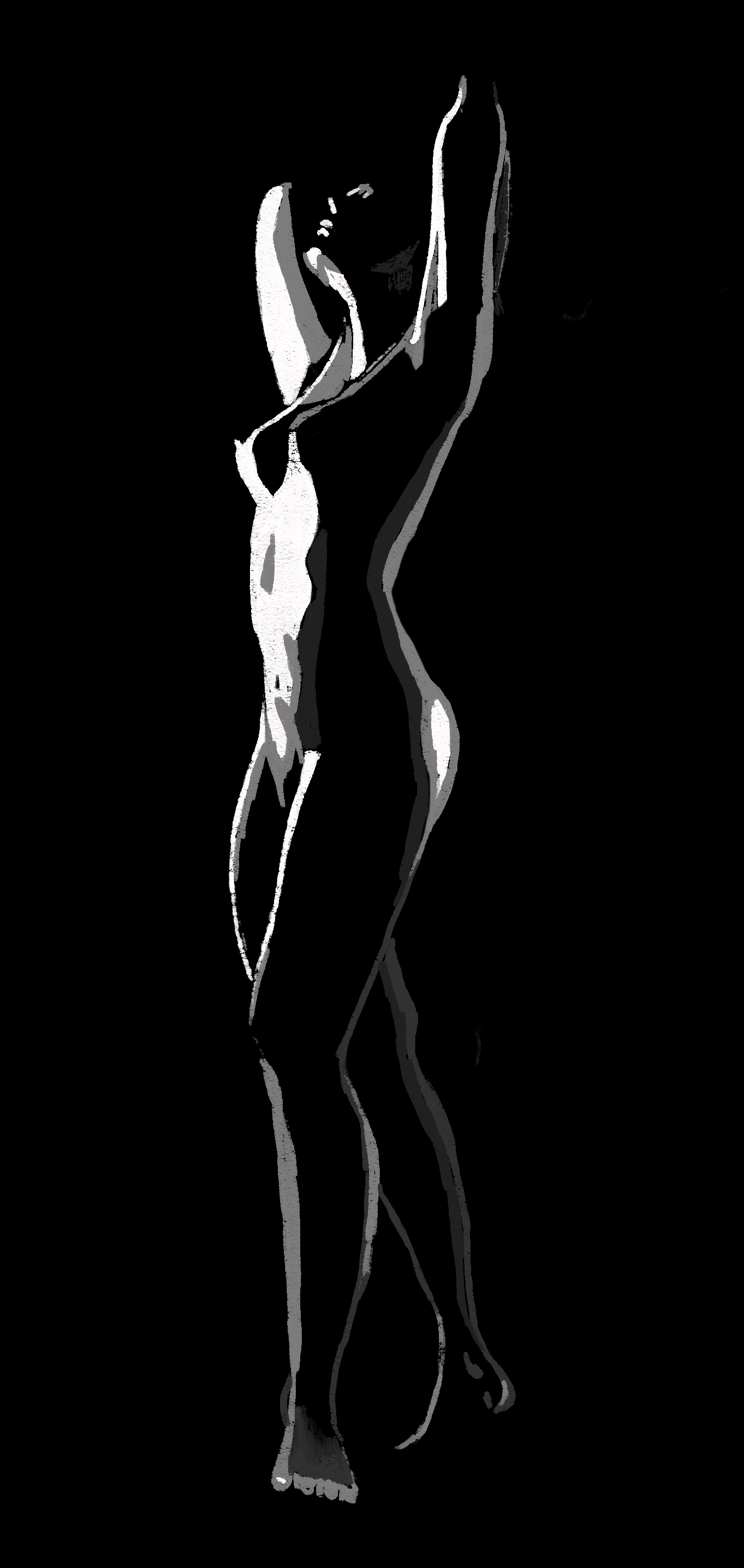 black and white figure study