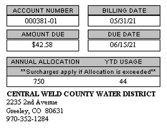 Copy of a customer's water service bill that shows the account number.