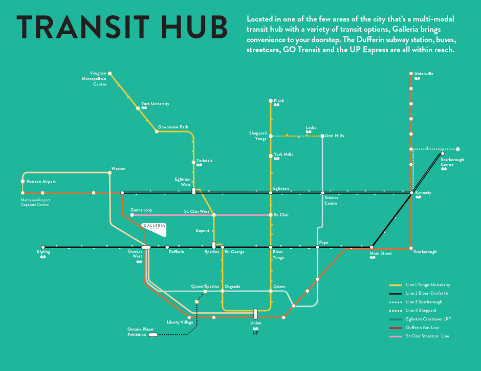 Galleia on the park location on Toronto subway map