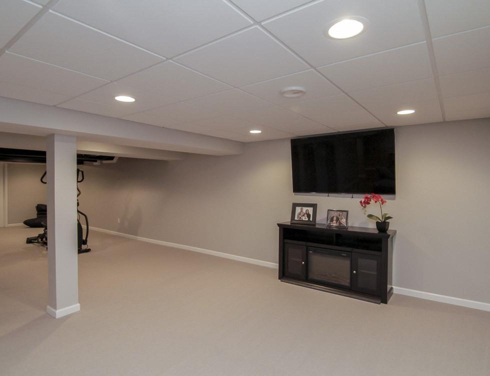 Basement TV Room + Open Space - Newtown, CT