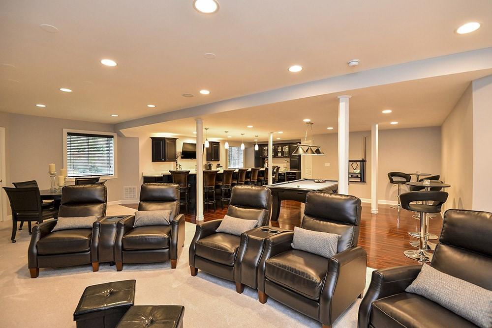 Basement TV Room - New Canaan, CT