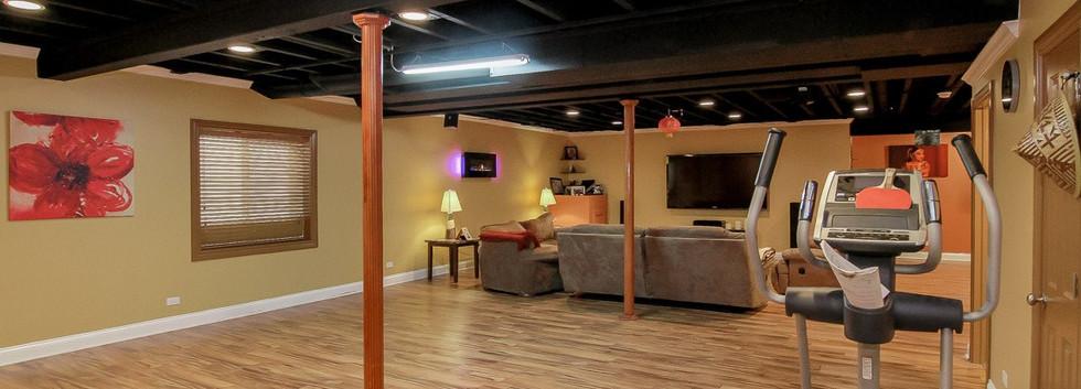 Basement Open Space + TV Room - Redding, CT