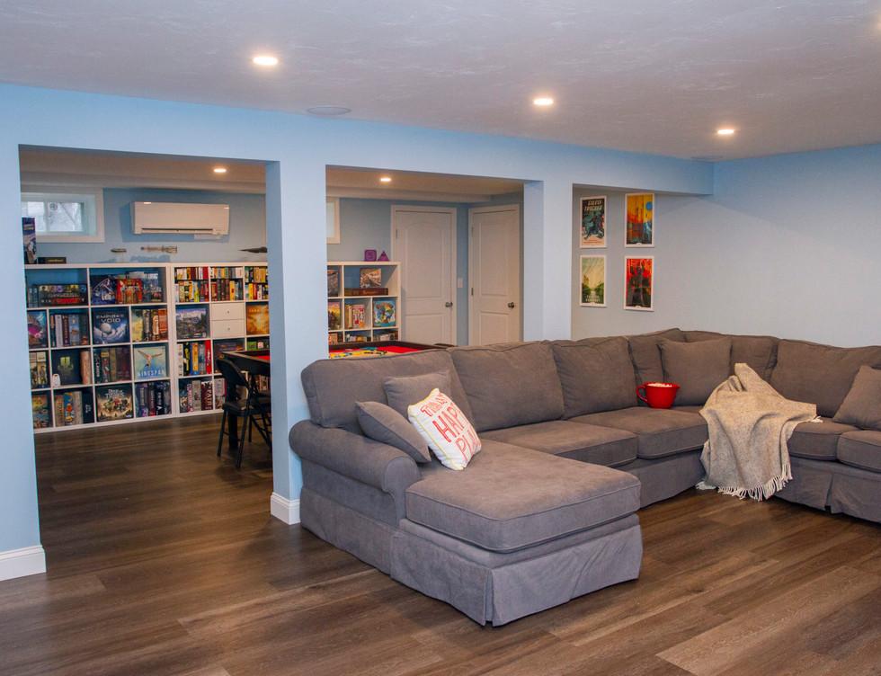 TV Room + Play Room Basement - Rye, NY