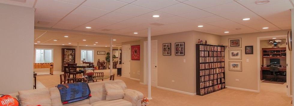 Basement TV Room + Book Shelves - Westport, CT