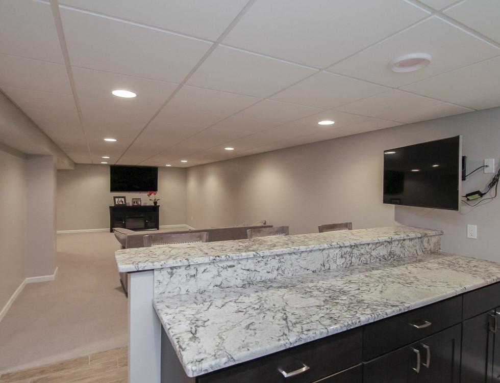 Basement Kitchen + TV Room - Newtown, CT
