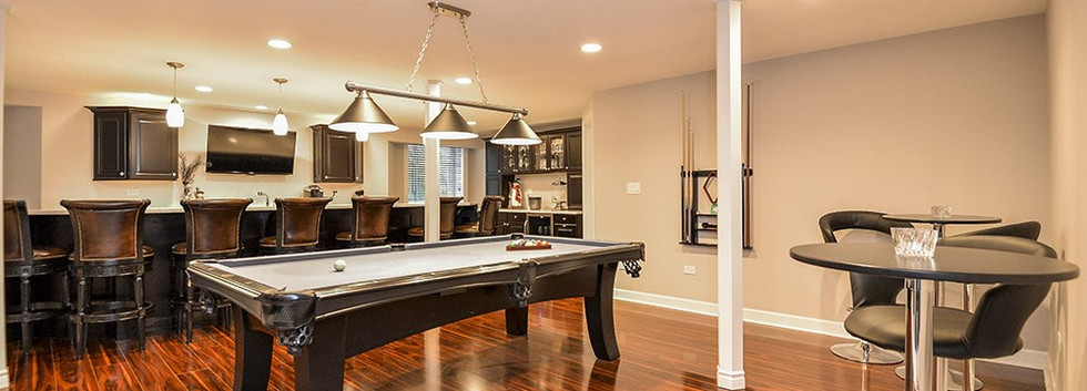 Basement Pool table and Kitchen - New Canaan, CT