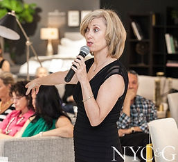 Julie Schuster speaks about feng shui design at Mitchell Gold's event benefiting Pink Aid