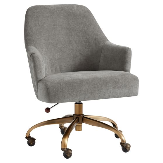 Distressed Velvet Office Chair