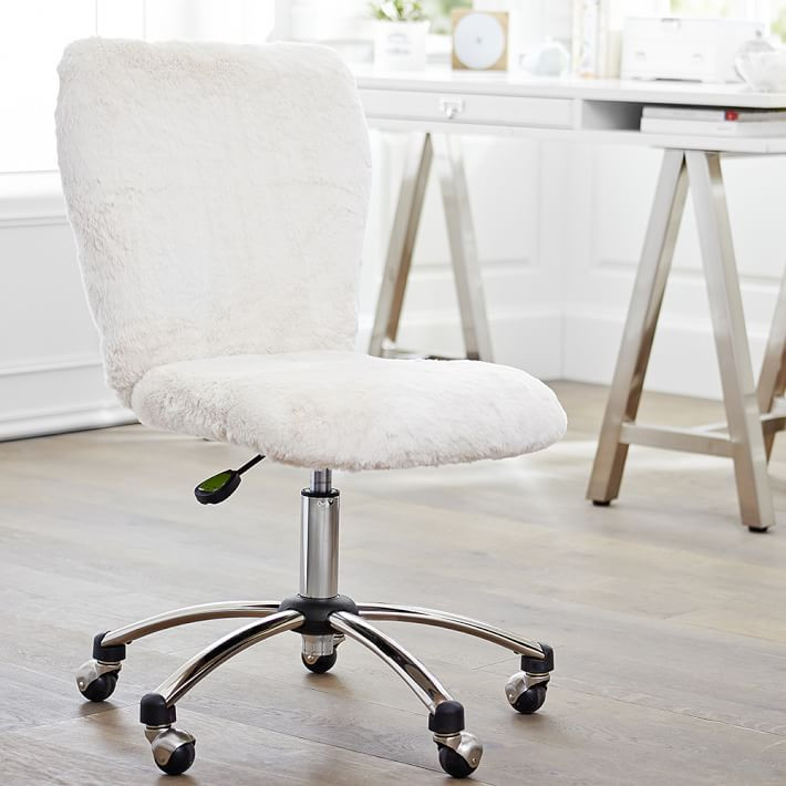 Polar Bear Faux-Fur Airgo Swivel Desk Chair