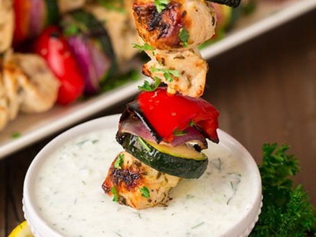 Greek Chicken Kebabs with Tzatziki