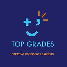 Top Grades_logo_blue background_straplin