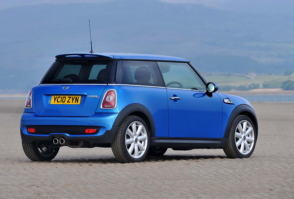 blue mini cooper parked on sand