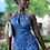 Thumbnail: Stone Blue Romper with gold neck jewlery