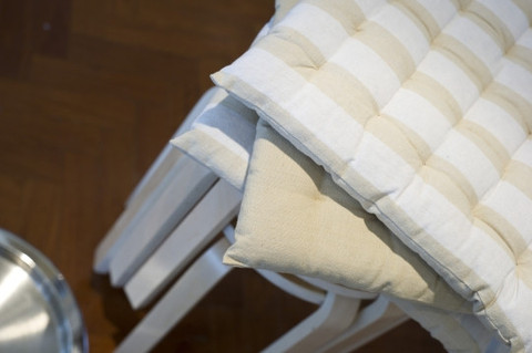 Chair pad stripe taupe and white $3.30
