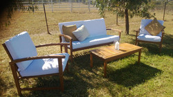 Lounge Setting lounge, chairs, coffee table and cushions $330