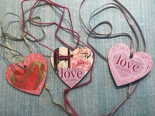 3 Reversable Valentine Wooden Pendants