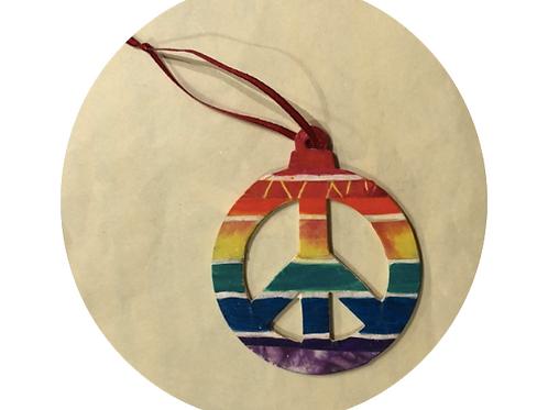 ornament: rainbow peace symbol