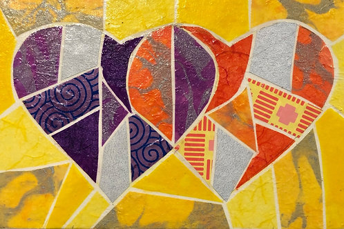 painting: two hearts overlapping