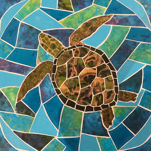 painting: sea turtle swimming