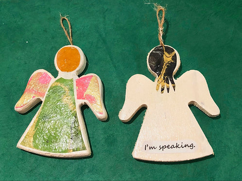 ornament: angel inspired by Kamala Harris