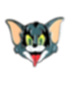 Katt is a mash up enamel pin of The demon from the roc bank KISS and Tom from Hanna Barbera Tom & Jerry