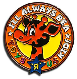 This enamel pin is for all the toys r us fans that will always be a Tyos R Us Kid