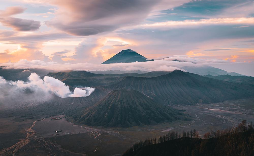 Sunrise over the Bromo volcano
