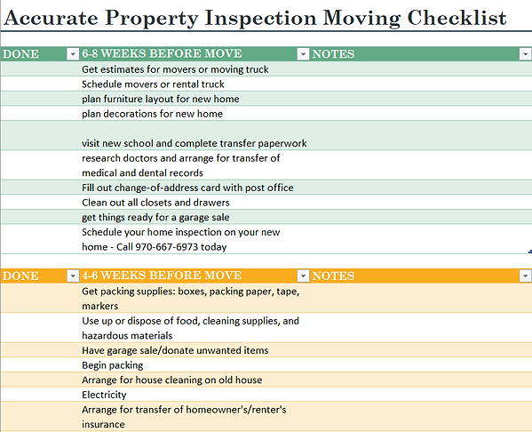 moving checklist, accurate property inpection