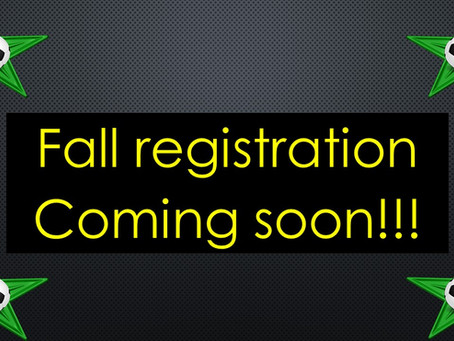 Fall registration coming soon!!!  Check back for all our Fall programs!