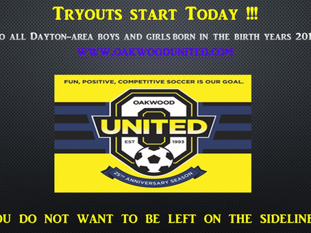 Tryouts start today!!!  You do not want to be left on the sidelines!!!