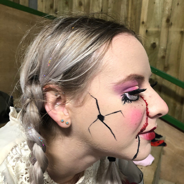 Creepy Doll Makeup for Phobia Fright Night Event