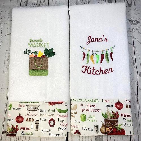 Personalize Farmers Market Set of Towels Decorative