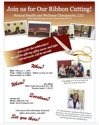 Ribbon Cutting Natrual Health and Wellness Chiropractic, LLC