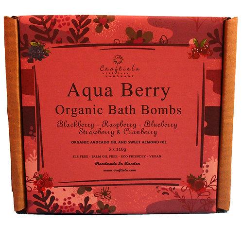 Aqua Berry Handmade Organic Bath Bombs, Organic Avocado Oil