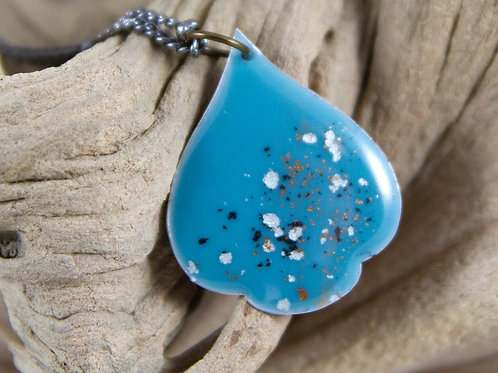 Aqua Enameled Drop Necklace
