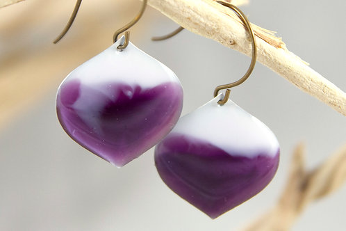 Plum & White Lantern Earrings