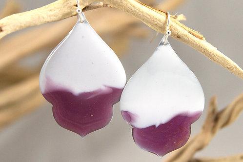 Plum and White Ogee Earrings