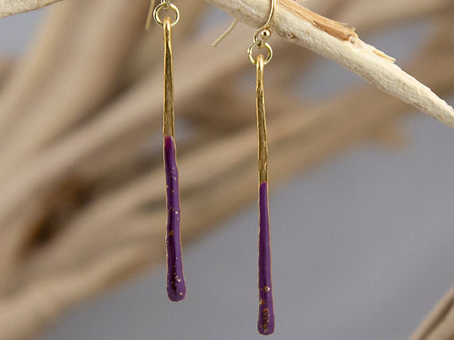 Hammered Gold Matchstick Earrings
