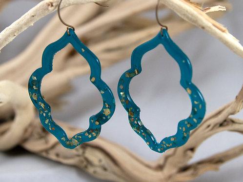 Teal & Gold Resin Earrings