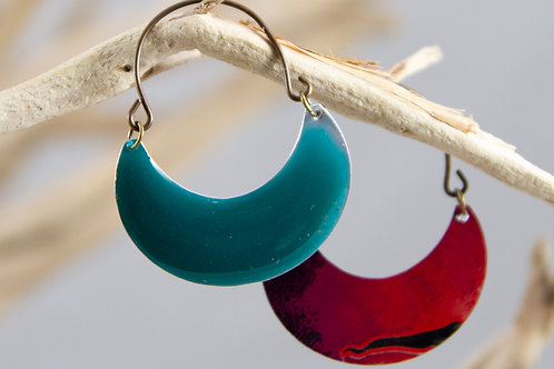 Teal Crescent Earrings