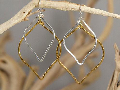 Silver and Gold Hammered Leaf Earrings