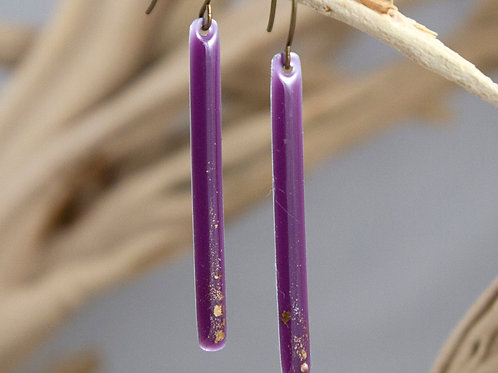 Plum and Gold Matchstick Earrings