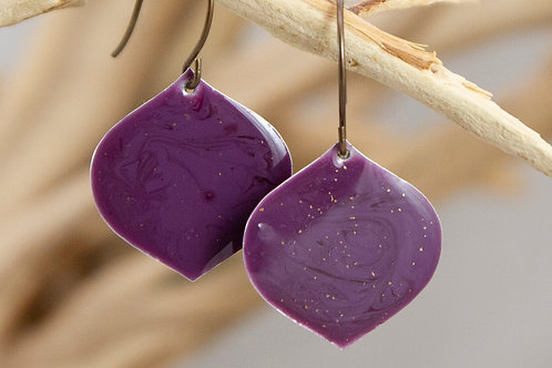 Plum Lantern Enamel Earrings
