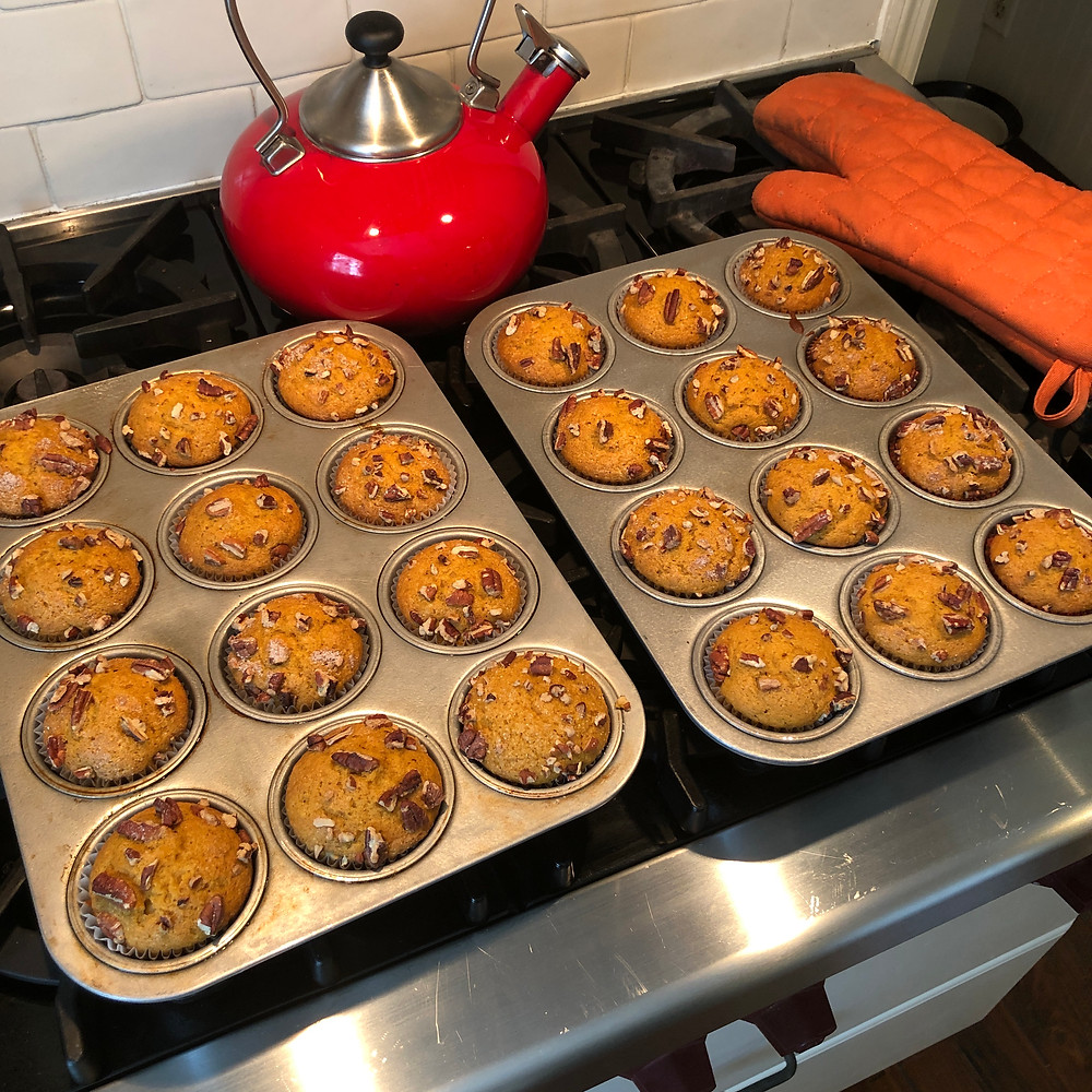 pumpkin muffins out of the oven