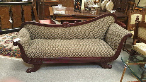 So Lovely Vintage Fainting Sofa With Neutral Tones A Wonderful Treasure This Cream Diamond Patterned On Green Background And Mahogany Claw Foot Frame